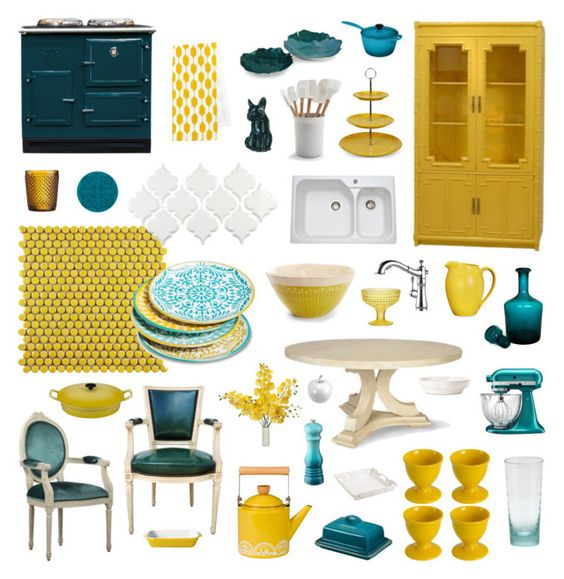 teal and yellow kitchen
